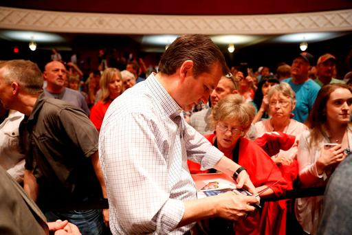 U.S. Republican presidential candidate Ted Cruz (R-TX) greets supporters at a campaign event at Woodrow Wilson Middle School in Terre Haute, Indiana April 24, 2016