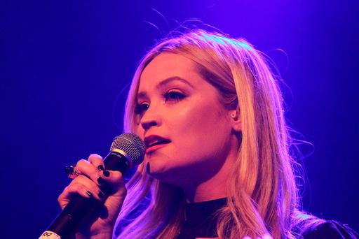 24/04/16Laura Whitmore pictured in the Olympia Theratre for Charity Concert, Dublin this evening.....Pic Stephen Collins/Collins Photos