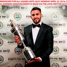 Leicester City's Riyad Mahrez poses with his PFA Player of the year award during the 2016 PFA Awards