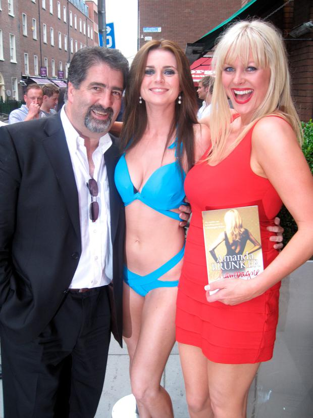 Amanda Brunker at Renards with owner Robbie Fox and model Emma Quinlan