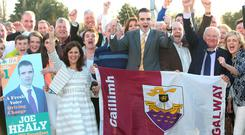 The new IFA president Joe Healy got a brief chance to celebrate with his wife Margaret and supporters before he was headed to the corridors of power in Brussels. Photo: Damien Eagers.