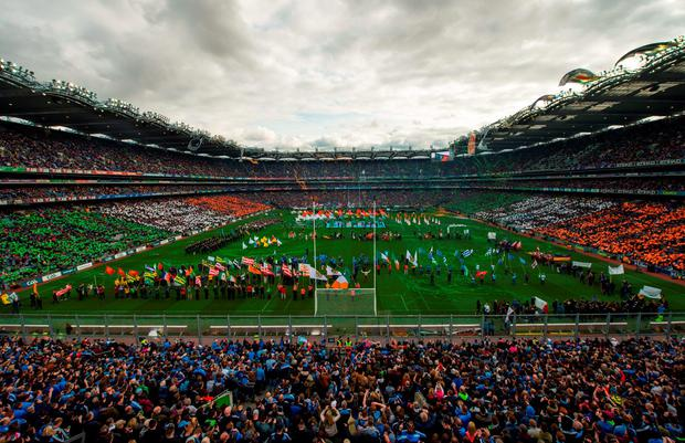 A view of the Laochra entertainment performance during the playing of Amhrann na bhFiann after the Allianz Football League Final