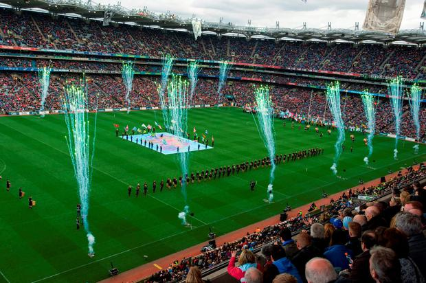 24 April 2016; A view of the Laochra entertainment performance after the Allianz Football League Final. Allianz Football League Finals, Croke Park, Dublin. Picture credit: Piaras Ó Mídheach / SPORTSFILE
