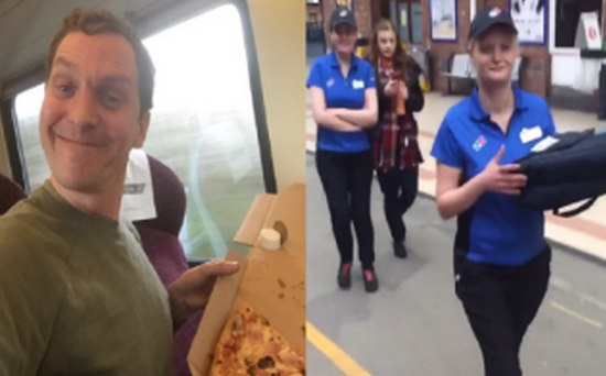 DJ Artwork got a pizza delivered to his train. Photo: Twitter/ @artworkmagnetic