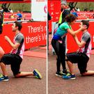 Photos courtesy of food blogger Ashley Fryer, of the moment when Adam Ruddick, 28, from London, got down on bended knee to propose to girlfriend Rachel Newell, 27, as they finished the 26.2-mile 2016 Virgin Money London Marathon. Photo: Ashley Fryer/PA Wire