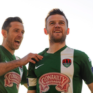 25 April 2016; Steven Beattie, right, Cork City, celebrates with team mate Alan Bennett after scoring his side's first goal against Shamrock Rovers. Picture Credit: Eóin Noonan/SPORTSFILE