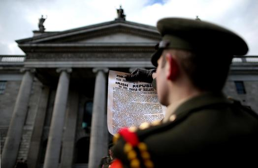 Radio listeners across the country yesterday stepped back in time to listen to the declaration of the Irish Republic, which was broadcast simultaneously by 37 radio stations.. Julien Behal/PA Wire