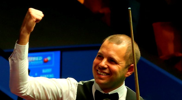 Barry Hawkins celebrates after defeating Ronnie O'Sullivan Photo: Simon Cooper/PA Wire