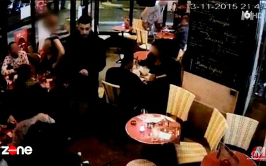 CCTV shows the moments before Ibrahim Abdeslam blows himself up in the Comptoir Voltaire cafe in Paris.