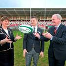 Northern Ireland First Minister Arlene Foster with Brian O'Driscoll and deputy First Minister Martin McGuinness