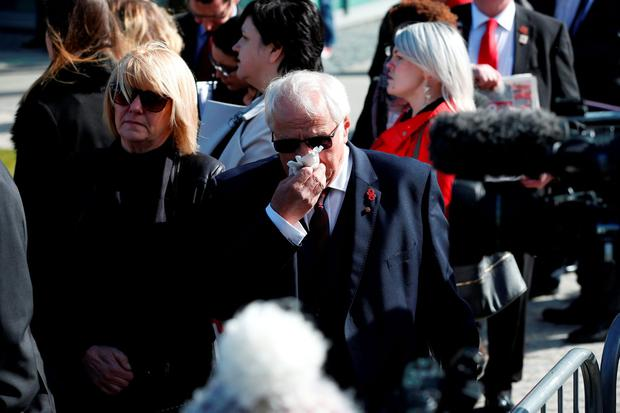 Trevor Hicks, whose daughters Sarah and Vicki died in the Hillsborough disaster, arrives at the Hillsborough Inquest in Warrington, where the jury will return to court to deliver their conclusions into the deaths of 96 fans at Britain's worst sporting disaster. PRESS ASSOCIATION Photo. Picture date: Tuesday April 26, 2016. See PA story INQUEST Hillsborough. Photo credit should read: Owen Humphreys/PA Wire