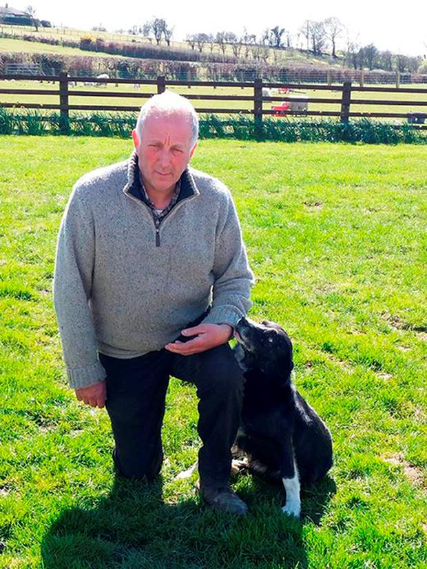 Alan James with his sheepdog Pero Credit: Family handout/PA Wire