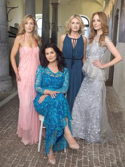 Left to right: Vivienne: dress, Alexander McQueen, Brown Thomas. Necklaces, Melissa Curry. Natasha (seated): dress, Niall Tyrrell. Shoes, Fran & Jane. Necklace, Melissa Curry.