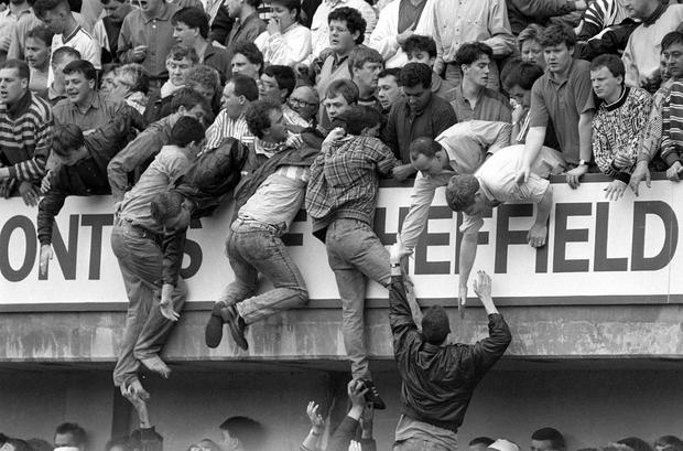 Ninety-six Liverpool supporters died in the Hillsborough disaster due to crushing following the admission of a large number of fans through exit gates
