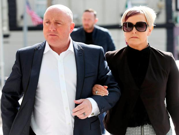 Murder accused David Mahon arrives in court with his wife, Audrey, who is mother of Dean Fitzpatrick, whom Mahon is alleged to have stabbed. Photo: Collins