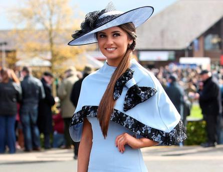 Kirsty Farrell, from Newry, winner of the bollinger best dressed lady for Day 1 at the Punchestown Racing Festival in Co. Kildare. Picture credit: Damien Eagers