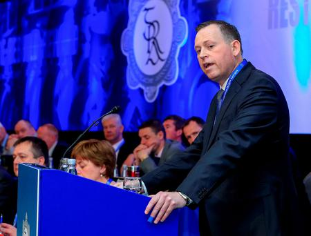 Dermot O'Brien, GRA President, addresses Garda Commissioner, Noirin O'Sullivan, at the 38th Garda Representative Association Annual Conference. Photo: Conor Ó Mearáin