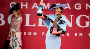 Kirsty Farrell from Newry was named Bollinger Best Dressed Lady at Day one of the Punchestown Racing Festival. Picture Andres Poveda