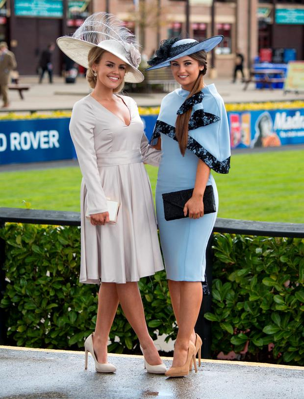 Kirsty Farrell and Emma Henratty at the opening day of the Punchestown Festival. Picture: Michael Chester