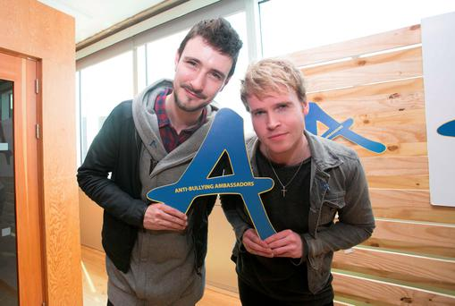 26/04/2016 Kodaline's Steve Garrigan & Jay (Jason) Boland during a Diana Award Anti-Bullying event in Facebook's offices in Dublin. Photo: Gareth Chaney Collins