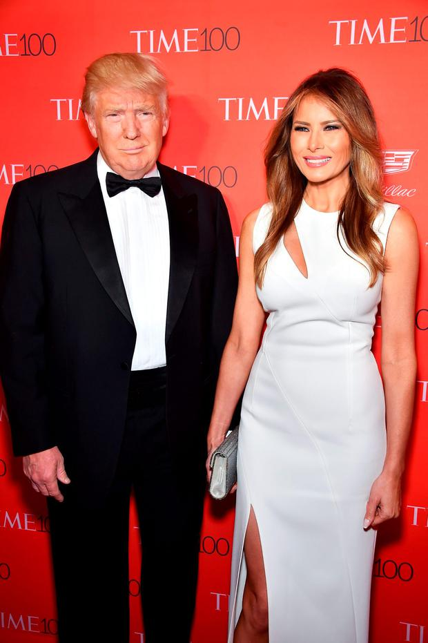 Donald Trump (L) and Melania Trump attend 2016 Time 100 Gala, Time's Most Influential People In The World red carpet at Jazz At Lincoln Center at the Times Warner Center on April 26, 2016 in New York City. (Photo by Dimitrios Kambouris/Getty Images for Time)