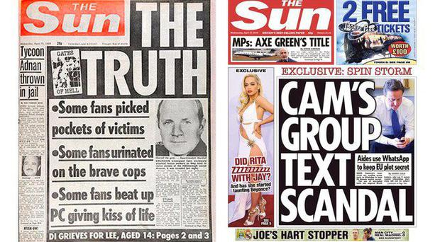 How the Sun reported the Hillsborough tragedy in 1989 and (right) today's front page ignores the verdict