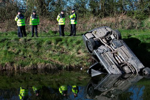 A man has died after the car in which he was travelling in entered the canal just off the R403 near Allenwood, Co Kildare. Photo: Kyran O'Brien