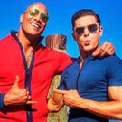 Dwayne Johnson and Zac Efron filming Baywatch