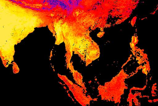 Yellow shows the warmest temperatures. (Reto Stockli/NASA Earth Observatory Team/MODIS Land Science Team via AP)