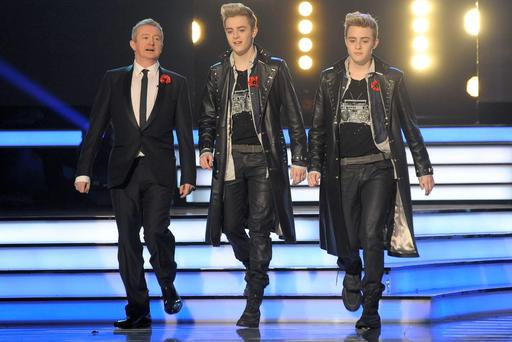 Louis Walsh with Jedward on X Factor 2009