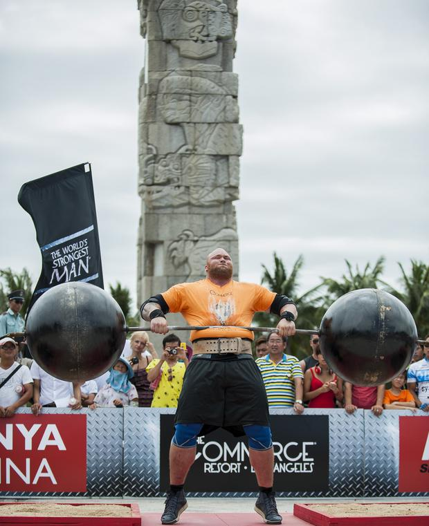 Hafthor Bjornsson of Iceland competes at the Circus Medley event during the World's Strongest Man competition at Yalong Bay Cultural Square on August 24, 2013 in Hainan Island, China. (Photo by Victor Fraile/Getty Images)