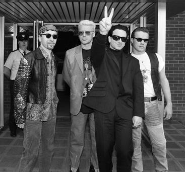 U2 pictured at Dublin Airport before their departure for their tour. L-R: The Edge (David Howell Evans), Adam Clayton, Paul David Hewson (Bono), and Lawrence Joseph