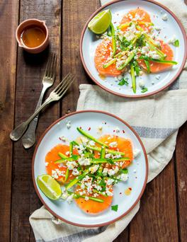 Pink grapefruit and feta salad. Photo: Mark Duggan.