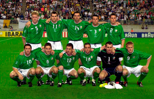 The Ireland team that drew with Germany in their Group E match at the 2002 World Cup finals (from left) – Back row: Steve Staunton, Kevin Kilbane, Gary Breen, Ian Harte and Steve Finnan. Front: Robbie Keane, Matt Holland, Mark Kinsella, Gary Kelly, Shay Given and Damien Duff. Photo: Sportsfile