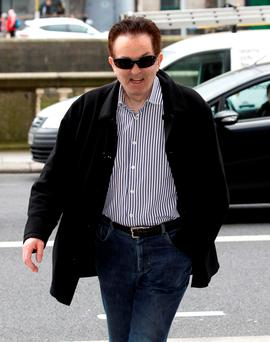 Kevin McGeever, who denies he bought a mansion called 'Nirvana' with the proceeds of crime, arrives at the Four Courts in Dublin yesterday. Photo: Collins