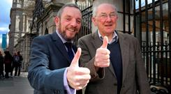 Jerry Buttimer – who lost his Dáil seat but was elected on the Labour panel in the Seanad election – is pictured with his father Jerry at Leinster House. Photo: Tom Burke