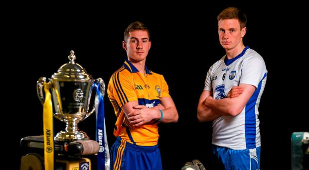 Clare's Colm Galvin (L) and Waterford's Austin Gleeson pictured at the Allianz NHL Division 1 final, which takes place on Sunday Photo: Ramsey Cardy / SPORTSFILE