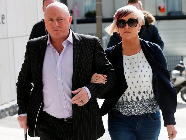 David Mahon (45) of Ongar Village in Consilla, arrives at the Central Criminal Court in Dublin yesterday with his wife Audrey where he is on trial charged with the murder of Audrey's son, Dean Fitzpatrick in 2013. Photo: Collins Courts