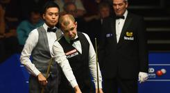 SHEFFIELD, ENGLAND - APRIL 26: Barry Hawkins of England looks on during his quarter final match against Marco Fu from Hong Kong on day eleven of the World Championship Snooker at Crucible Theatre on April 26, 2016 in Sheffield, England. (Photo by Laurence Griffiths/Getty Images)