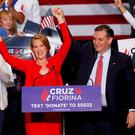 Republican U.S. presidential candidate Ted Cruz stands with Carly Fiorina after he announced Fiorina as his running mate at a campaign rally in Indianapolis, Indiana. Reuters/Aaron P. Bernstein