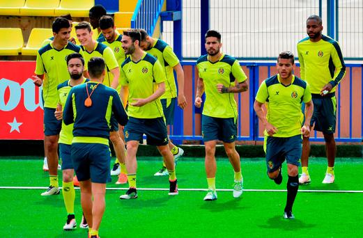 Villarreal players warm up during a training session. Photo: Getty