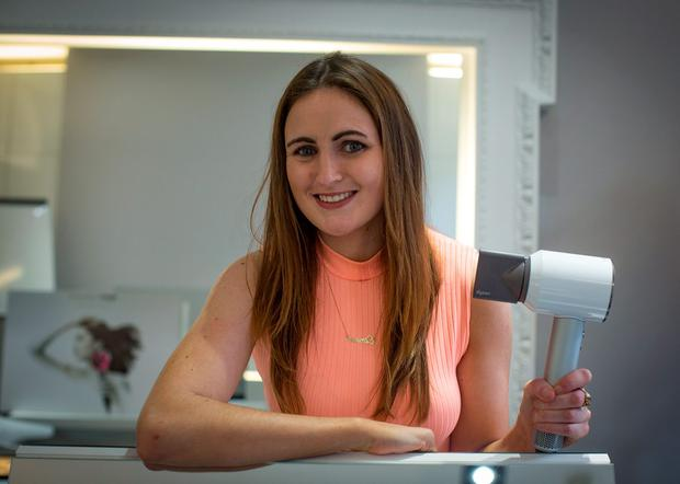 Eimear Rabbitte with the new Dyson Hairdryer at Dylan Bradshaws salon on South William Street, Dublin. Photo: Arthur Carron