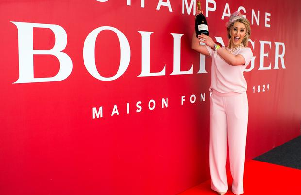 Audrey Kelly (Naas) winner of the Bollinger Best Dressed Lady on day 2 of the Punchestown festival. Picture: Michael Chester