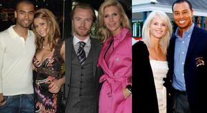 (L to R) Cheryl and Ashley Cole; Ronan Keating and Yvonne Connolly and Elin Nordegren and Tiger Woods