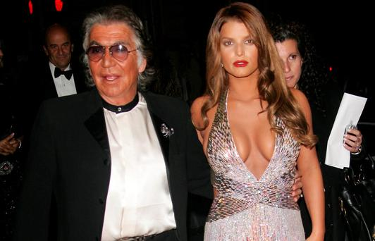 Jessica Simpson with Roberto Cavalli at the Met Gala in 2007