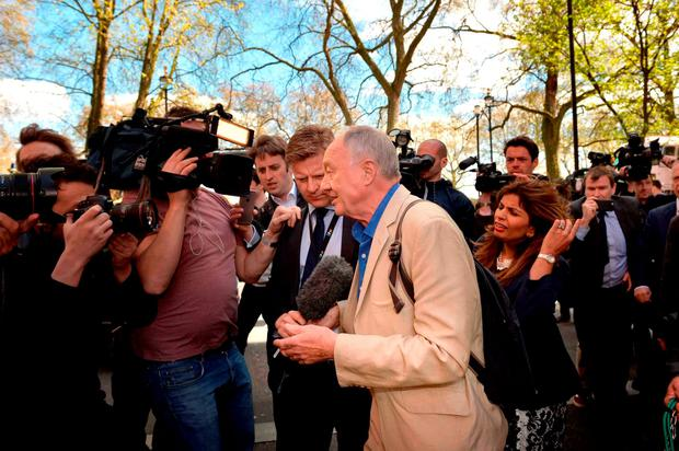 Former mayor of London Ken Livingstone is surrounded media outside Millbank in Westminster Credit: Anthony Devlin/PA Wire