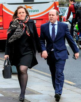 Anne-Louise and Greville Miley from Dundrum in Dublin at court yesterday where the case they brought on behalf of their son Jude was settled. Photo: Courtpix