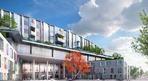 An artist's impression of the entrance of the new National Children's Hospital to be built beside St James's Hospital in Dublin