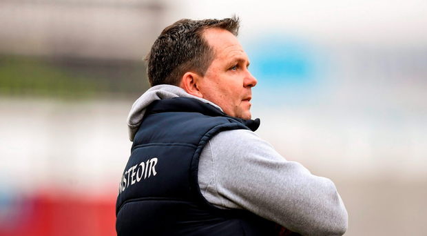 """Fitzgerald (p) admits that he """"loves"""" the job his opposite number Derek McGrath has done in Waterford Photo: Sportsfile"""