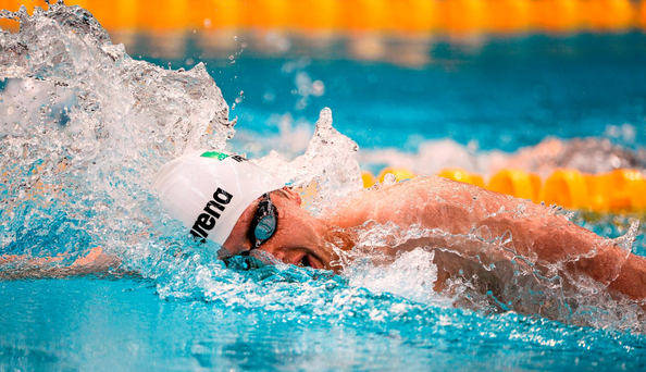 Andrew Meegan, Aer Lingus SC, on his way to winning the Men's 1500m Freestyle at the National Long Course Swimming Championships Photo: Sportsfile